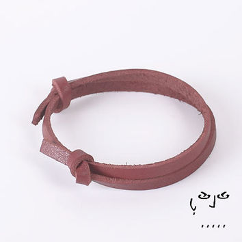 VujuWear 5mm Red Leather Wrap Bracelet