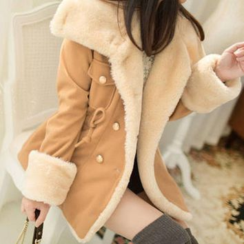 MUQGEW Beautiful cheap 1PC Winter Fashion Warm Double-Breasted Wool Blend Jacket Women Coat autumn jacket women manteau femme