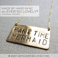 part time mermaid - handmade gold necklace - beach wedding gift #swim #ocean #mermaid #beach #summer