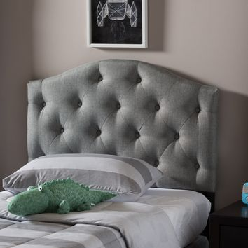Baxton Studio Myra Modern and Contemporary Grey Fabric Upholstered Button-Tufted Scalloped Twin Size Headboard  Set of 1