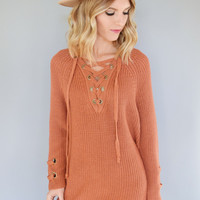 Evergreen Lace Up Sweater Rust