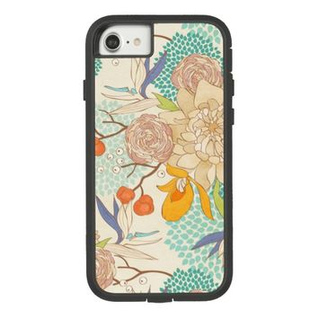 Modern Rose Peony Flower Pattern Case-Mate Tough Extreme iPhone 7 Case