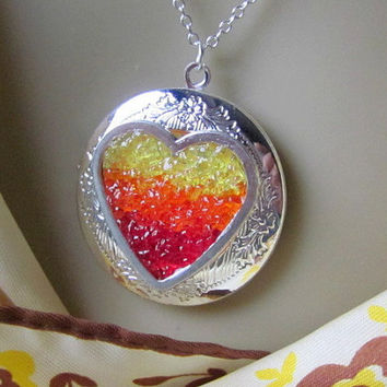 Burning Heart Locket Flaming Heart Necklace Personalized Heart on Fire Jewelry Red Yellow Orange Love Locket Secret Message Inside