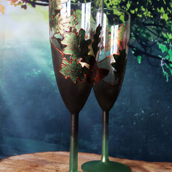 Oak tree leaves Set of 2 hand painted wedding champagne flutes personalized toasting glasses in green and copper color