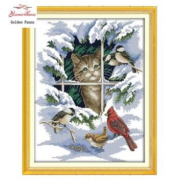 Golden Panno,14CT 11CT DMC hand made cross stitch kits,snow scenery winter Cat and birds Needlework embroidery Cross Stitch 923