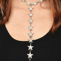 Chicloth Rhinestones and Alloy Stars Long Necklace
