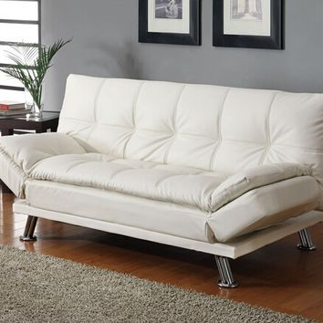 White finish leather like vinyl folding futon sofa bed with chrome finish legs