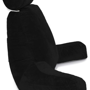 Husband Pillow Bedrest Reading & Support Bed Backrest with Arms Black - Shredded Foam Reading Pillow - Bed Rest Pillow Makes a Comfy and Therapeutic Cuddle Buddy Any Time You Need One 22.50 x 15 x 8.50""