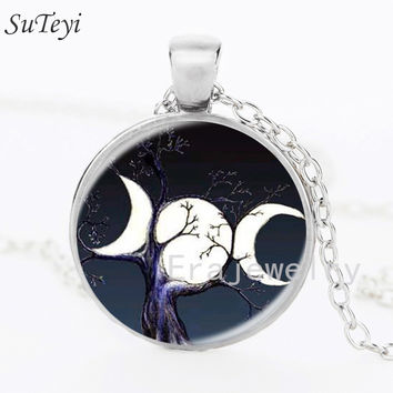 Newest 2017 Triple Moon Goddess pendant witchcraft jewelry Moon Goddess  necklaces glass dome choker necklace moon jewellery