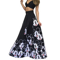 2016 Mickey Women Maxi Skirt A-Line Long Skirt Faldas Summer Fashion Women High Waist Mickey Cartoon print Long Skirts Midi Saia