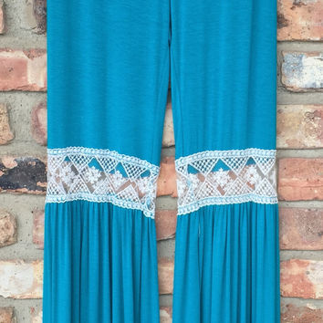 Turquoise Lace Detail Bell Bottom Palazzo Pants *FINAL SALE*