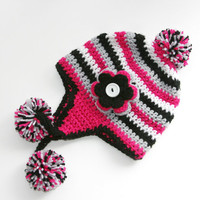 Toddler hat earflap hat pom pom striped beanie 12-36 months Made to order