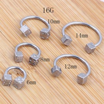 Piercing Nose Rings Titanium Steel U-Shaped Nose Hoop Rings Silver Dice Horsehose Ring De Nariz 6-14mm Pierce Body Jewelry