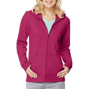 Hanes Women's Essential Fleece Full Zip Hoodie Jacket, Jazzberry Pink, XXL
