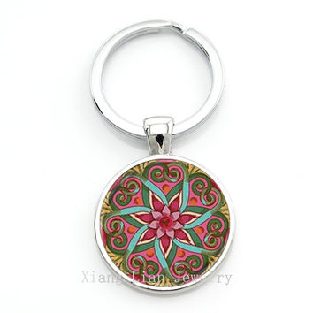 Mandala Key chain Sacred geometry Keychain jewelry handmade art glass pendant Keyring Key ring for Women