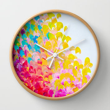 CREATION IN COLOR - Vibrant Bright Bold Colorful Abstract Painting Cheerful Fun Ocean Autumn Waves Wall Clock by EbiEmporium