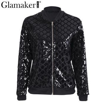 Glamaker Sequin black basic jacket coat Women sexy eveing party spring bomber jacket Casual streetwear female club jacket 2018