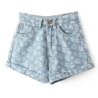 Blue Floral Printed Denim Shorts