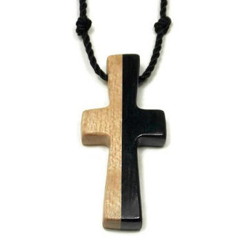 Mens Cross Pendant Necklace, Mens Jewelry Cross, Men's Cross Necklace, Religious Pendant, Wood Cross Pendant, Ebony Cross, Husband Gift