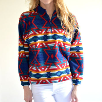 SALE SALE Vintage Beyond Blue Colorful Aztec Sweater Tribal Patterned Pullover Retro Bohemian Long Sleeve Boho Hippie Sweater Extra Small XS