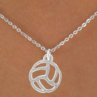 Abstract Design Silver Volleyball Charm Necklaces
