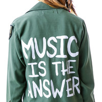 Jac Vanek Music is the Answer Jacket Military
