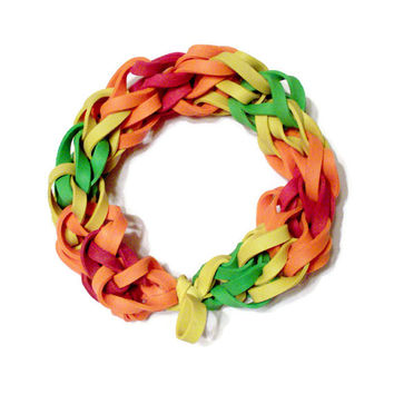Tie Dye Rubber Band Bracelet - Red, Orange, Yellow, & Green Rubber Bands - Groovy, Colorful Stretch Bracelet