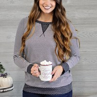 * Hayleigh Mixed Print Top : Charcoal