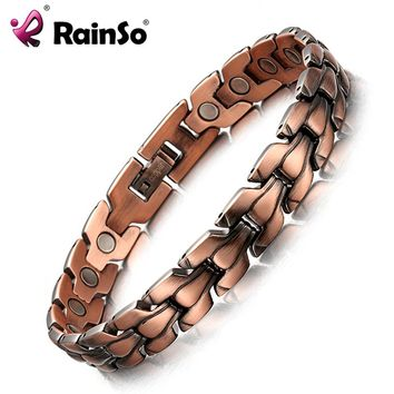 RainSo Men's Copper Magnetic Bracelet Healthy Bio Energy Bracelets & Bangles Top Quality Health Jewelry Red Copper Wristbands