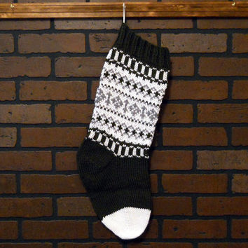 Traditional Hand Knit Christmas Stocking in Green, White and Grey, Fair Isle Knit, Housewarming/ Wedding Gift, Baby Shower Gift, Handmade