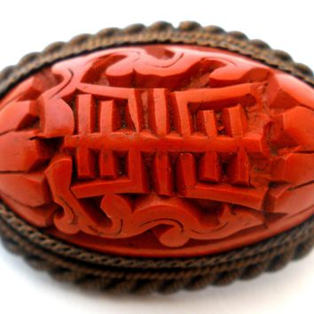 Vintage Chinese Export Cinnabar Brooch Pin