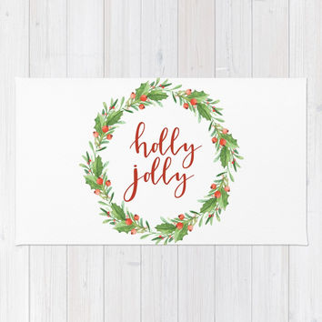 Christmas wreath-holly jolly Rug by Sylvia Cook Photography