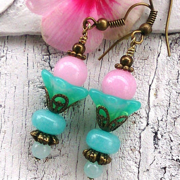 Aqua and Pink Jade Earrings Antique Bronze Earrings GEMSTONE EARRINGS Semi Precious Earrings  Nickel Free
