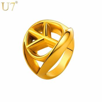 U7 Stainless Steel Gold/Black Color Big Classic Peace Sign Ring Gift Men/ World Peace Hip Hop