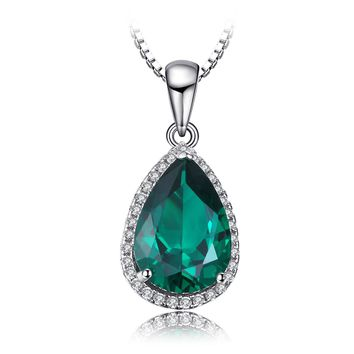 Jewelry Palace Pear 3.7ct Simulated Green Nano Russian Emerald Pendant Necklace 925 Sterling Silver 18 Inches