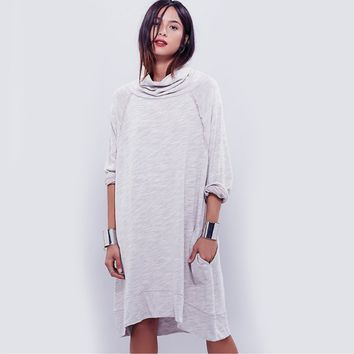 Solid Turtleneck Loose Dress With Side Pocket