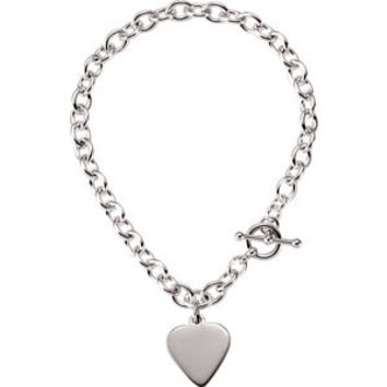 Cable Toggle Bracelet with Heart 5.75mm