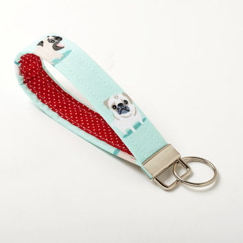Pug Keychain, Dog Key Chain, Fabric Key Fob Holder - Pug Gift