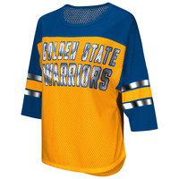 Golden State Warriors G-III Women's First Team Mesh Fashion 3/4 Sleeve Top - Royal/Gold