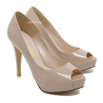 Thin Shoes High Heel Peep-toe   nude pink