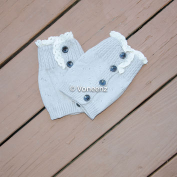 Oatmeal Knitted Boot Cuffs with Lace & Buttons, Holiday Boot Topper Stocking Stuffer