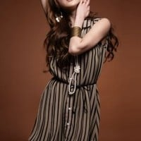 Casual Fashion Stripe Long Blouses Apricot : Wholesaleclothing4u.com