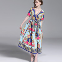Givenchy The latest fashion mid-long pleated Printed Dress
