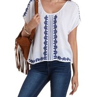 Ivory Combo Boxy Embroidered Top by Charlotte Russe