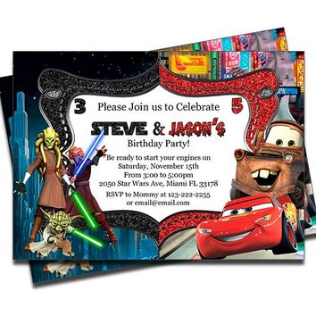 Disney Cars and Star Wars - Double Birthday Invitations