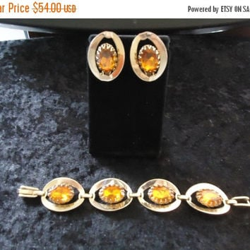 NOW ON SALE Vintage Chunky Wide Amber Rhinestone Bracelet Earring Demi Parure Mid Century Set Collectible Retro Collectible Costume Jewelry
