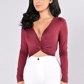 Knot Yours Top - Burgundy