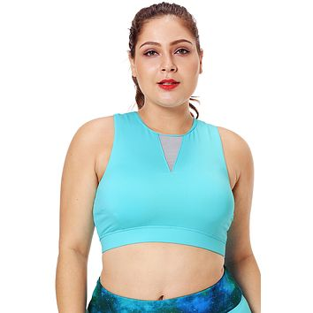 Light Blue Mesh Insert High Neck Plus Size Sport Bra
