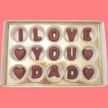 Dad Gift from Daughter Son to Father in Law Daddy Valentines Day Birthday Gift Unique Awesome Funny I Love You Dad Chocolate Letter Message