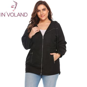 Trendy IN'VOLAND Women Jacket Plus Size L-3XL 2018 Spring Autumn Casual Hooded Long Sleeve Outwear Loose Large Rain Coat Oversized AT_94_13